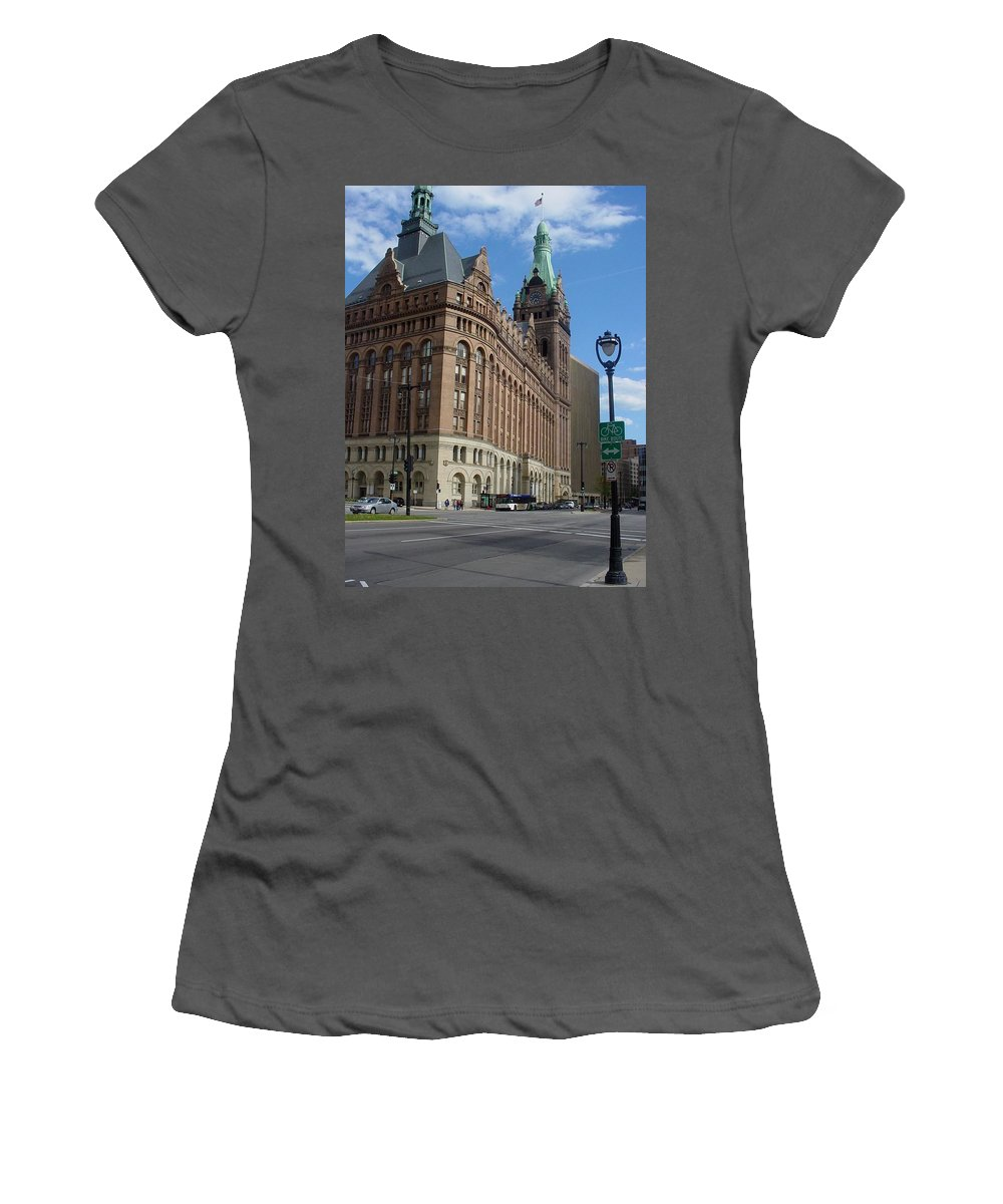 Milwaukee Women's T-Shirt (Athletic Fit) featuring the photograph City Hall And Lamp Post by Anita Burgermeister