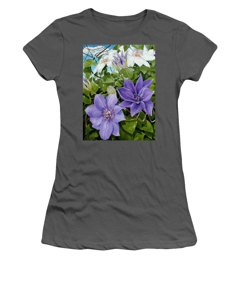 Clematis Women's T-Shirt (Athletic Fit) featuring the painting Clematis 2 by Jerrold Carton