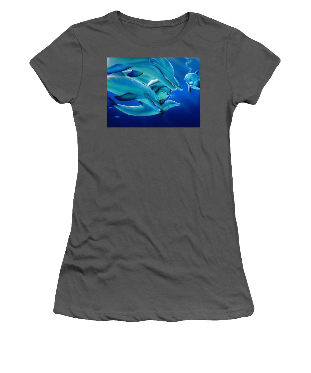 Blue Women's T-Shirt (Athletic Fit) featuring the painting Curiosity by Angie Hamlin