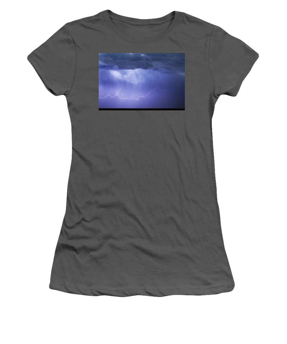 Restaurant Art Women's T-Shirt (Athletic Fit) featuring the photograph Dia Country Farm Field Lightning Striking 85 by James BO Insogna