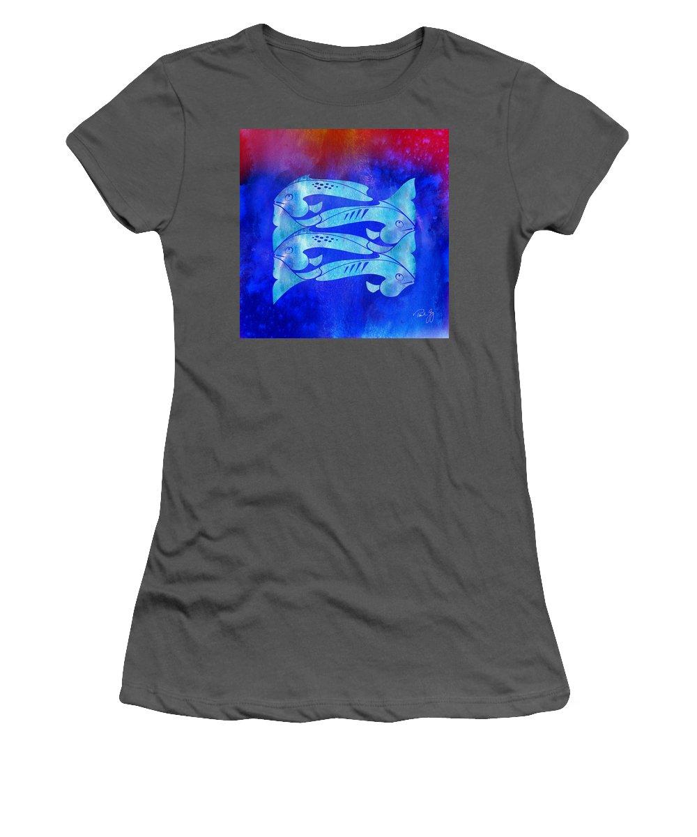 Fish Women's T-Shirt (Athletic Fit) featuring the mixed media 1 Fish 2 Fish by Paul Gaj