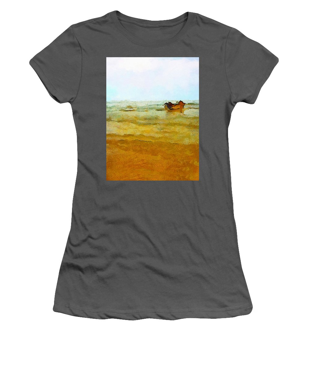 Abstract Women's T-Shirt (Athletic Fit) featuring the photograph Fishing Boat by Galeria Trompiz