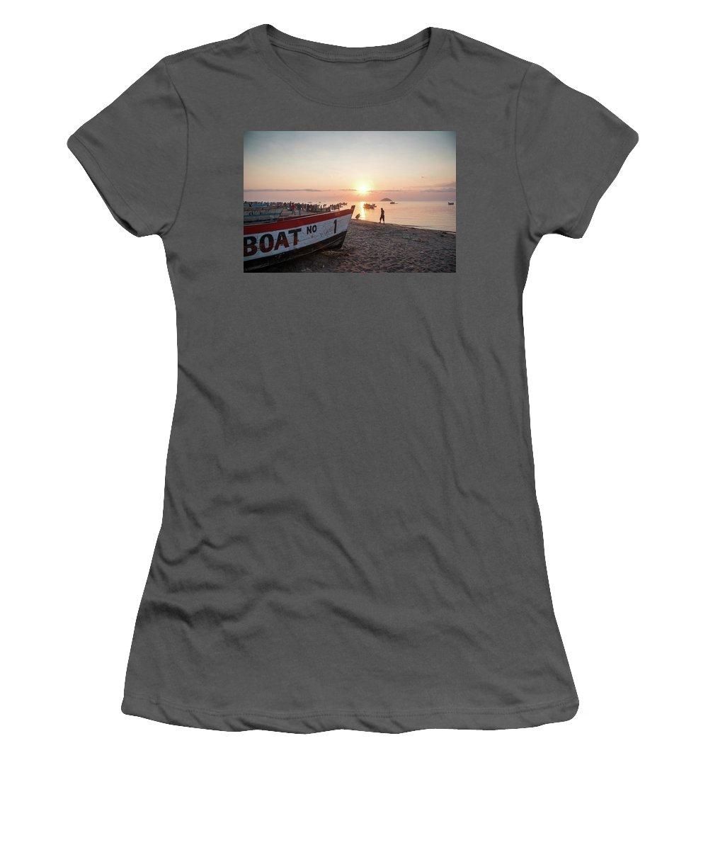 Joburg2kili Women's T-Shirt (Athletic Fit) featuring the photograph Fishing Boats And The Informal Market - Senga Bay Lake Malawi by Gareth Pickering