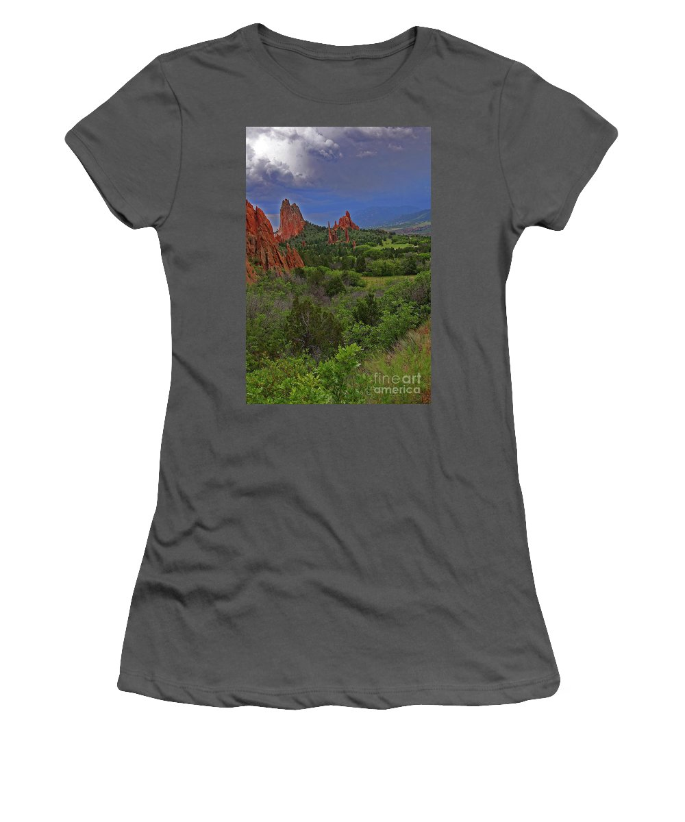 Colorado Women's T-Shirt (Athletic Fit) featuring the photograph Garden Of The Gods by Rich Walter