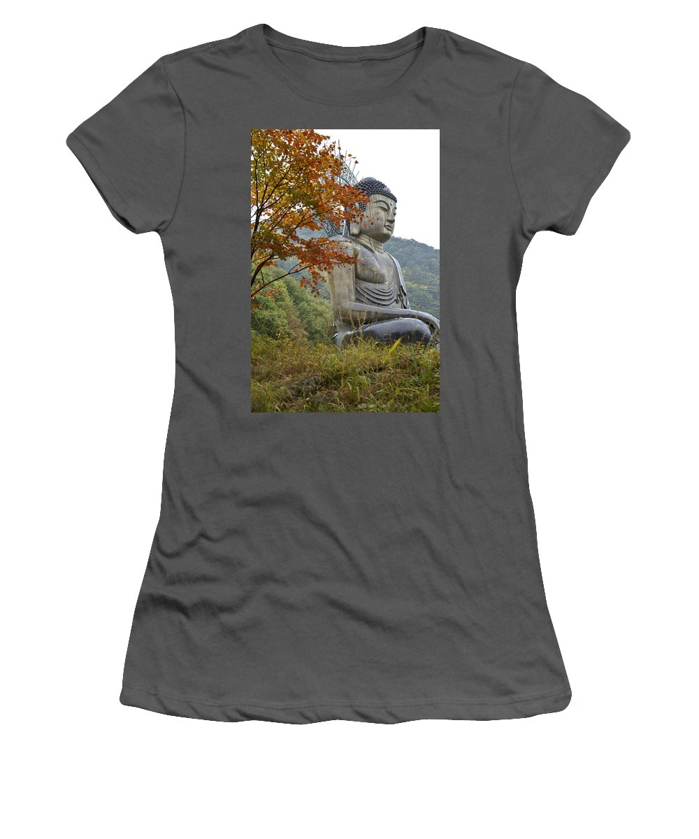 Buddha Women's T-Shirt (Athletic Fit) featuring the photograph Great Buddha In Autumn by Michele Burgess