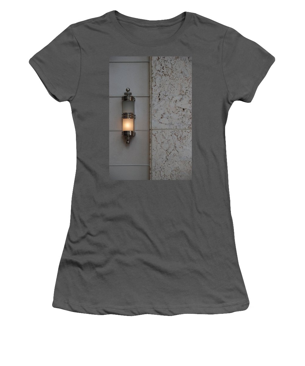 Sconce Women's T-Shirt (Athletic Fit) featuring the photograph Half Lit Wall Sconce by Rob Hans