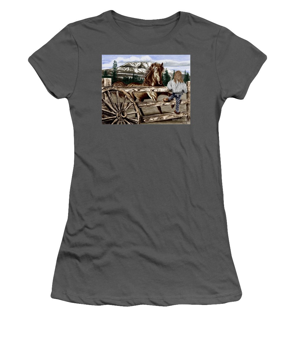 Hello Girl Women's T-Shirt (Athletic Fit) featuring the drawing Hello Girl by Peter Piatt