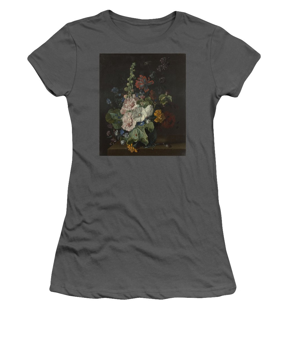 Jan Women's T-Shirt (Athletic Fit) featuring the digital art Hollyhocks And Other Flowers In A Vase by PixBreak Art