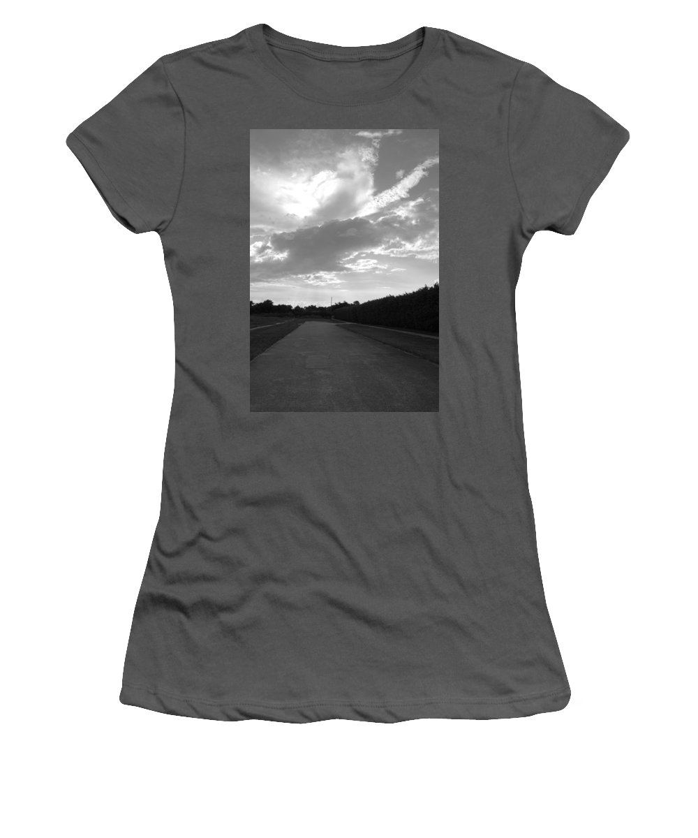 Black And White Women's T-Shirt (Athletic Fit) featuring the photograph Homestead Sky by Rob Hans