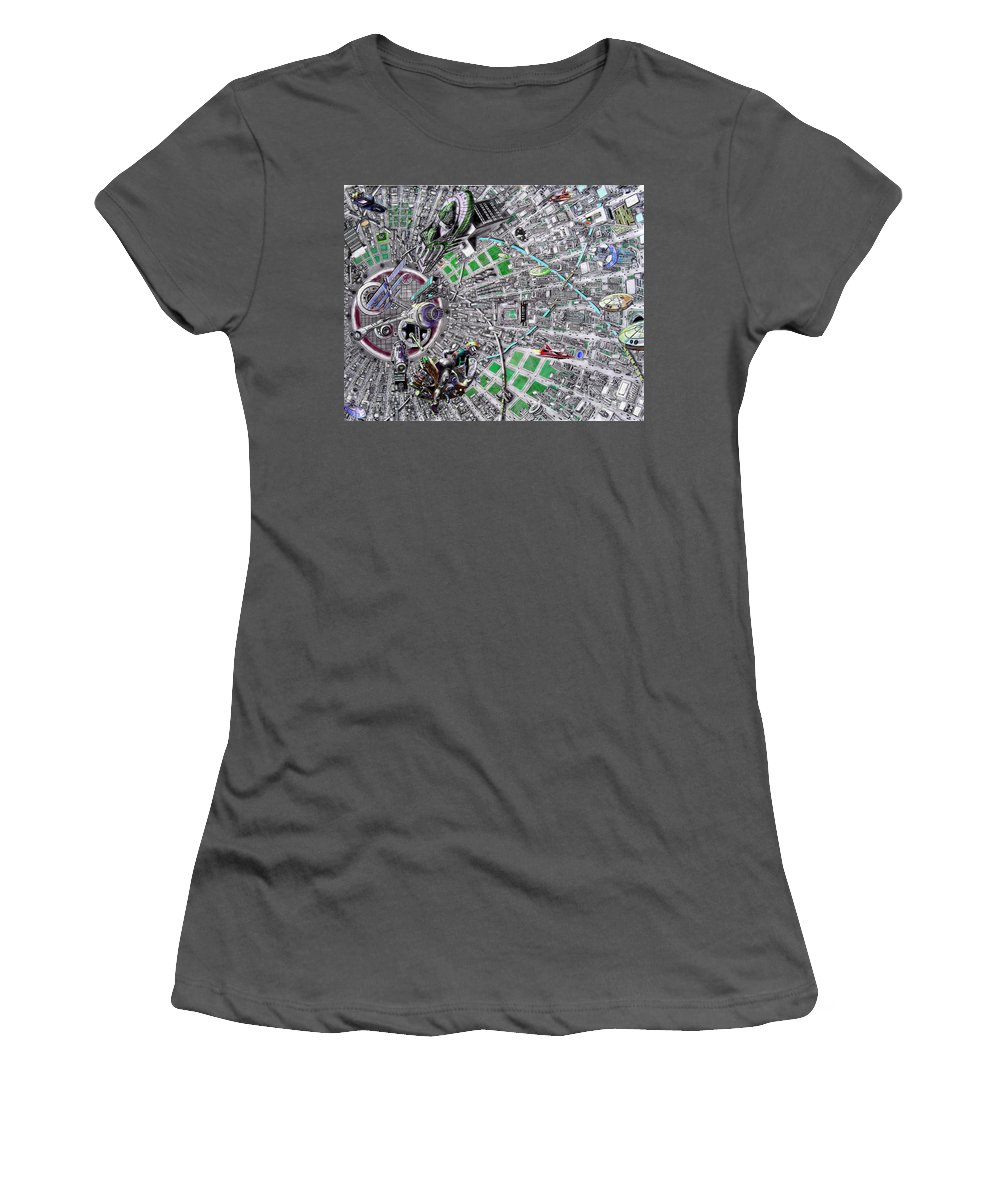 Landscape Women's T-Shirt (Athletic Fit) featuring the drawing Inside Orbital City by Murphy Elliott
