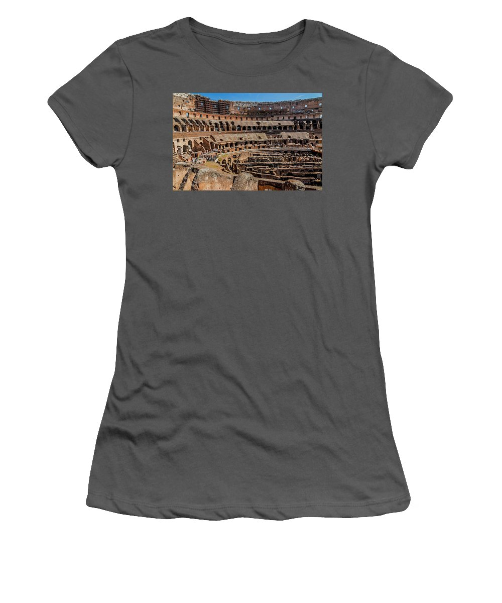 Italian Women's T-Shirt (Athletic Fit) featuring the photograph Interior Of The Coliseum, Rome, Italy by Tom Zeman