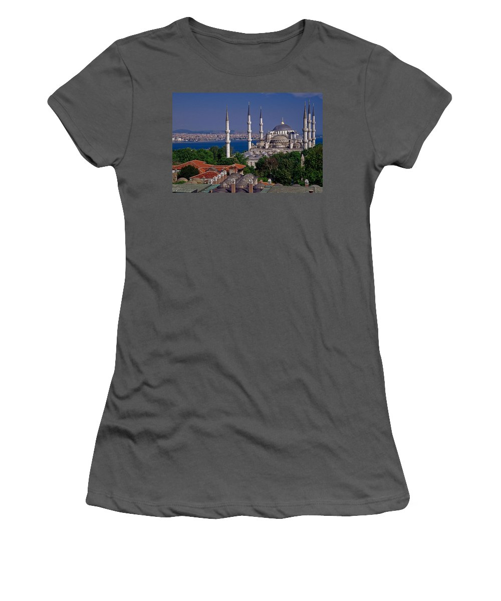 Turkey Women's T-Shirt (Athletic Fit) featuring the photograph Istanbul's Blue Mosque by Michele Burgess