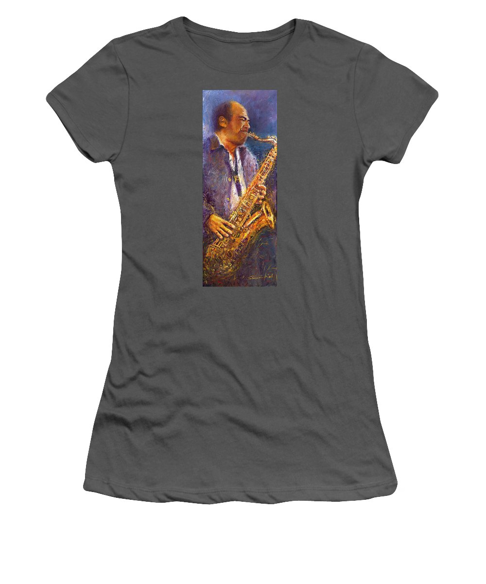 Jazz Women's T-Shirt (Athletic Fit) featuring the painting Jazz Saxophonist by Yuriy Shevchuk