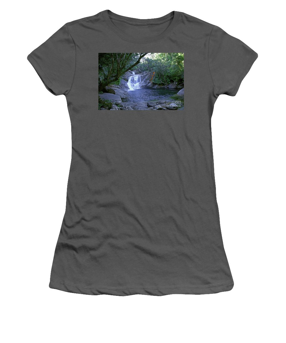 Tropical Women's T-Shirt (Athletic Fit) featuring the photograph Josephine Falls And Tropical Pool by Kerryn Madsen- Pietsch