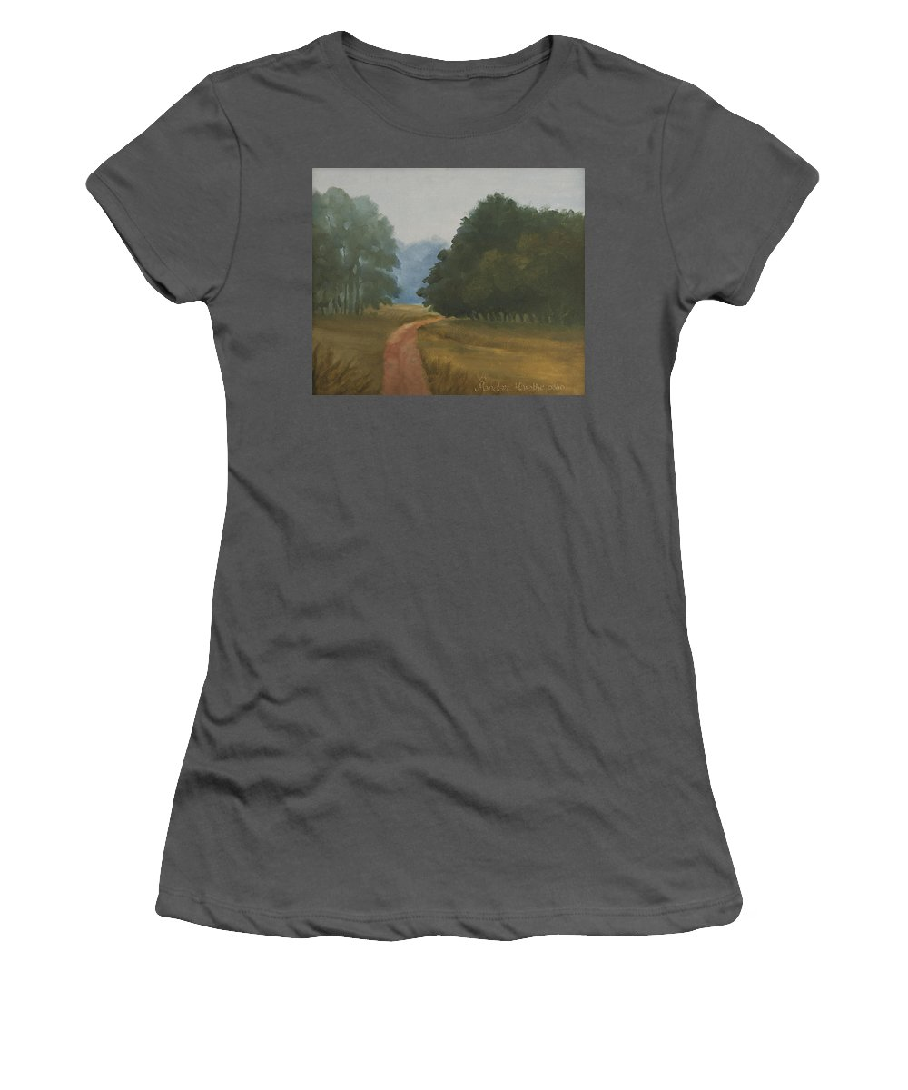 Landscape Women's T-Shirt (Athletic Fit) featuring the painting Kanha Morning by Mandar Marathe