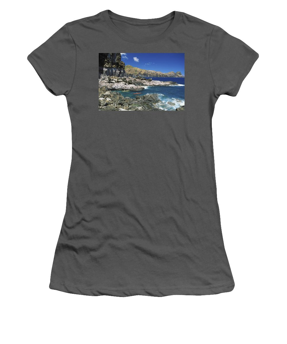 Blue Women's T-Shirt (Athletic Fit) featuring the photograph Kayaking Along Coastline by Ron Dahlquist - Printscapes