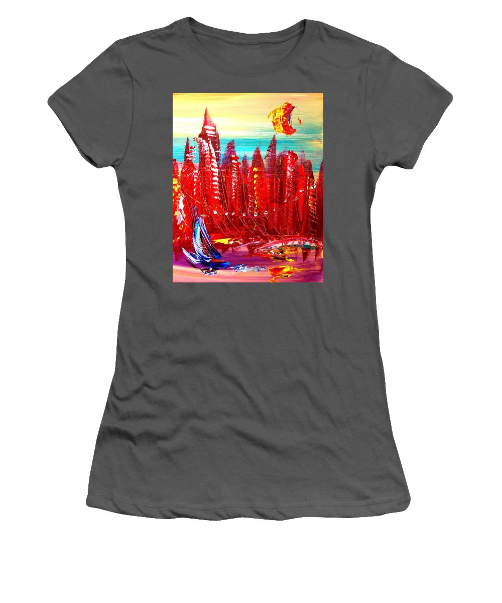 Surreal Framed Prints Women's T-Shirt (Athletic Fit) featuring the painting Landscape by Mark Kazav