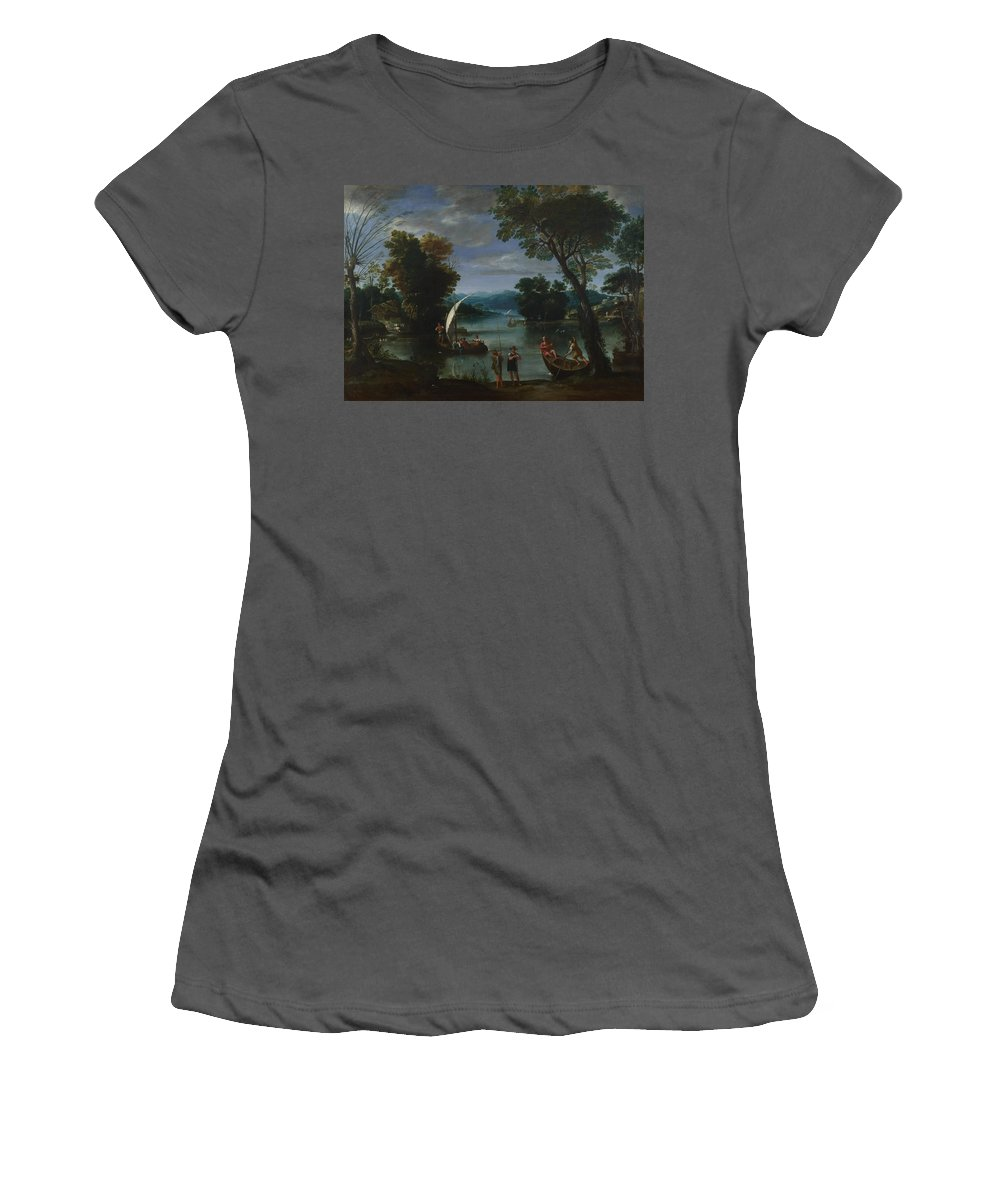 Giovanni Women's T-Shirt (Athletic Fit) featuring the digital art Landscape With A River And Boats by PixBreak Art