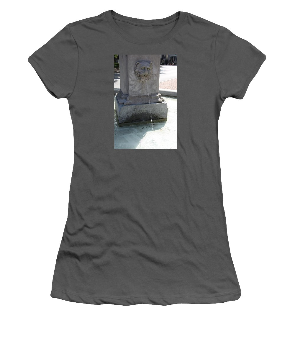 Fountain Women's T-Shirt (Athletic Fit) featuring the photograph Lion Fountain by Christiane Schulze Art And Photography