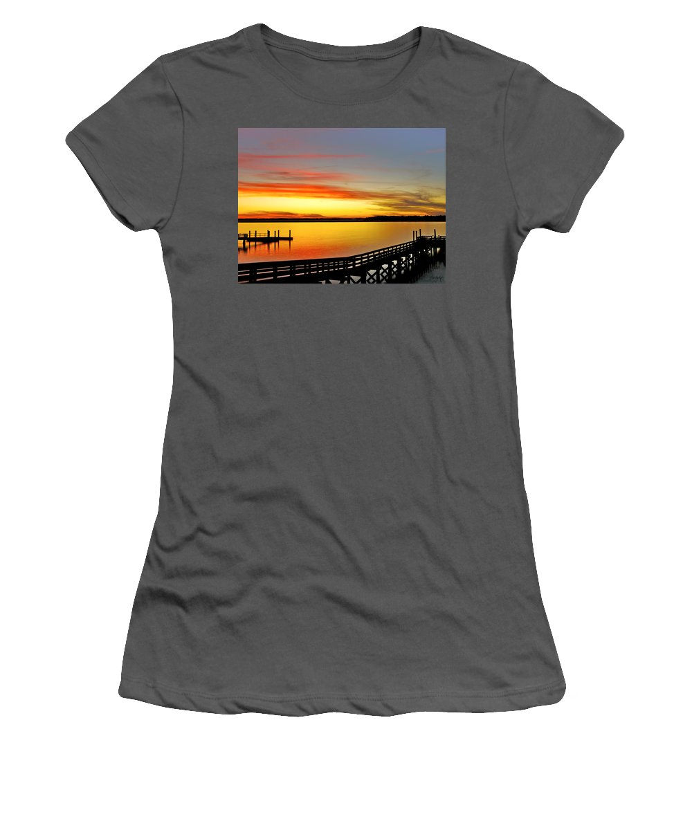 Sunset Women's T-Shirt (Athletic Fit) featuring the photograph Lowcountry Autumn by Phill Doherty