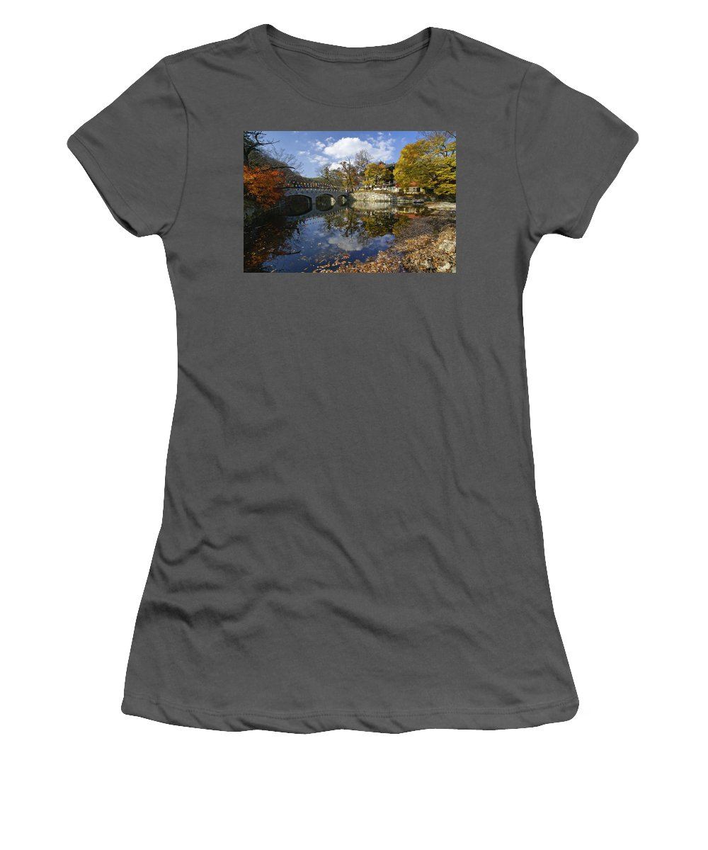 Korea Women's T-Shirt (Athletic Fit) featuring the photograph Magoksa Buddhist Temple by Michele Burgess