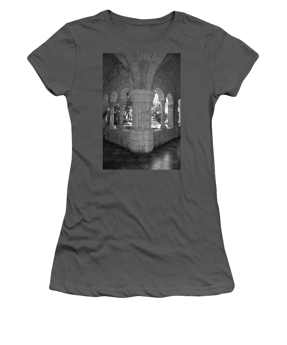 Black And White Women's T-Shirt (Athletic Fit) featuring the photograph Miami Monastery In Black And White by Rob Hans