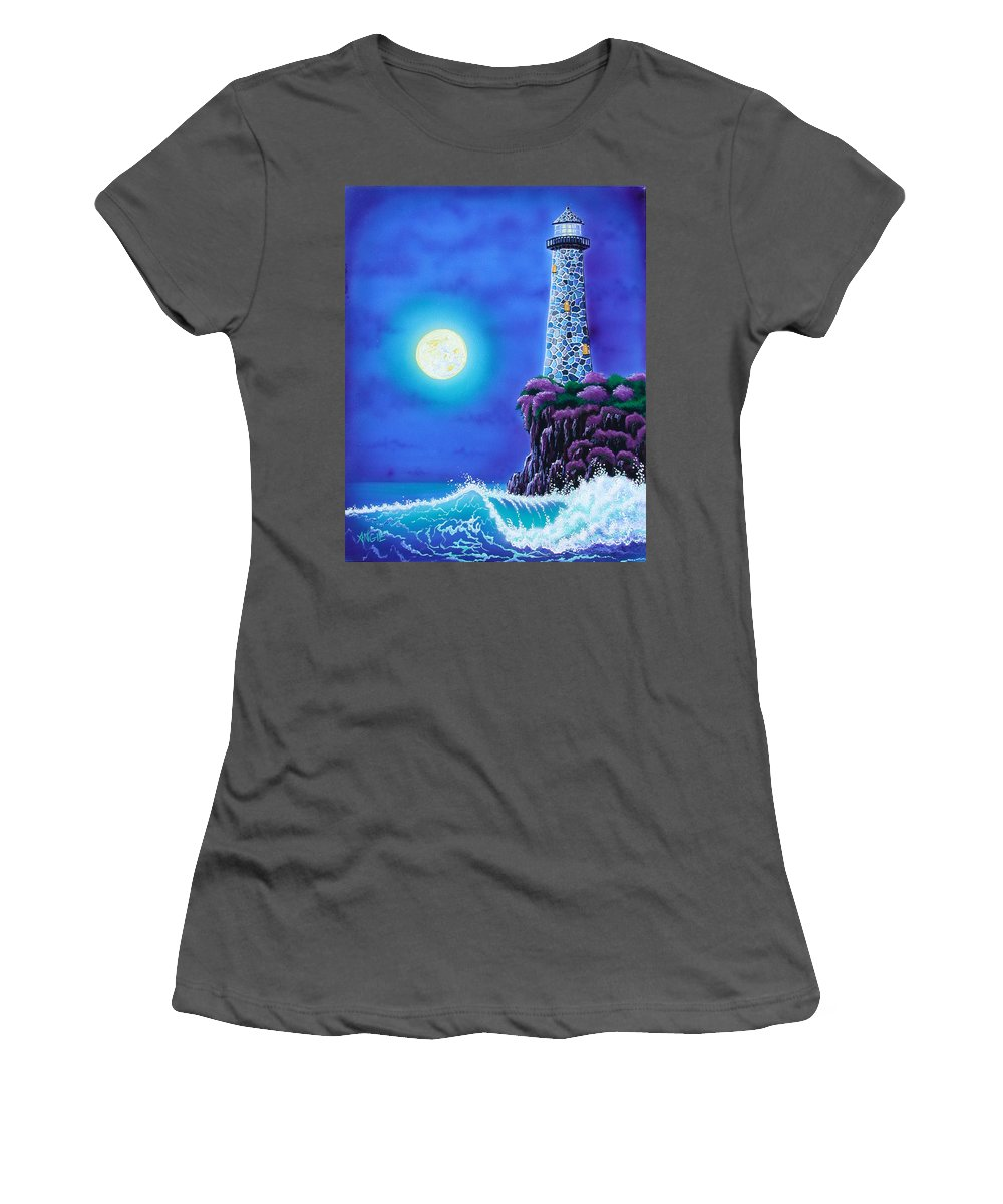Lighthouse Women's T-Shirt (Athletic Fit) featuring the painting Moonlight Vigil by Angie Hamlin