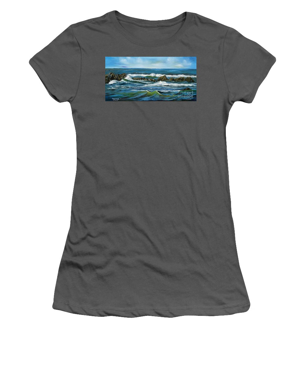 Seascape Women's T-Shirt (Athletic Fit) featuring the painting Morning Rush by Larry Geyrozaga
