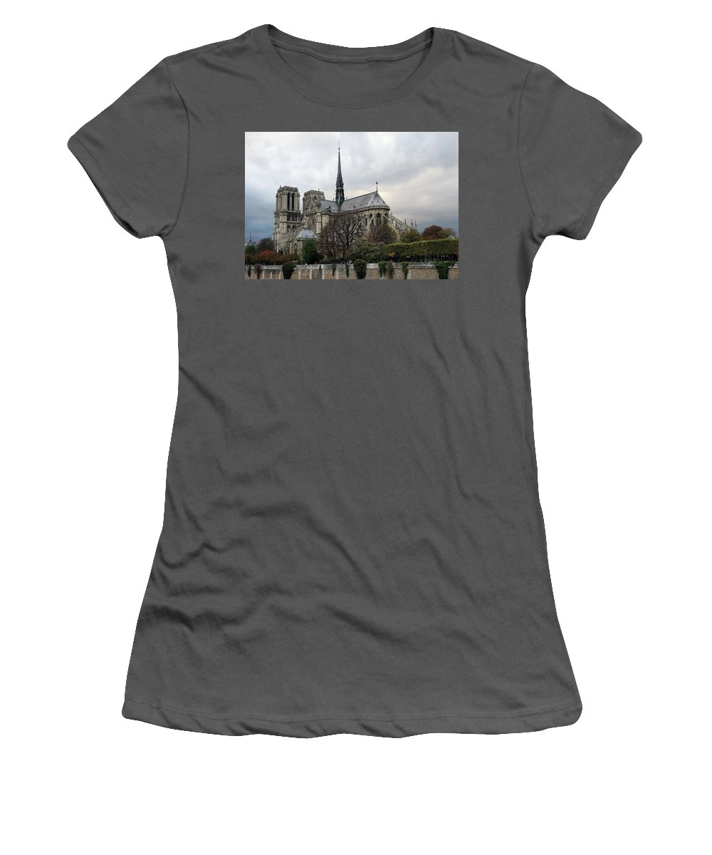 Paris Women's T-Shirt (Athletic Fit) featuring the photograph Notre Dame Cathedral In Paris, France by Richard Rosenshein