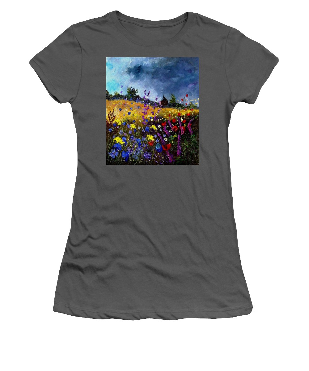Flowers Women's T-Shirt (Athletic Fit) featuring the painting Old Chapel And Flowers by Pol Ledent