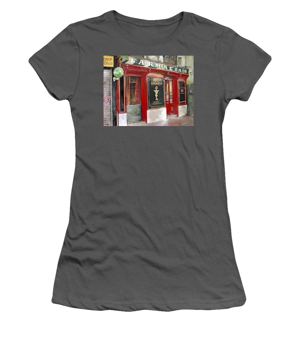 Farmacia Women's T-Shirt (Junior Cut) featuring the painting Old Pharmacy by Tomas Castano