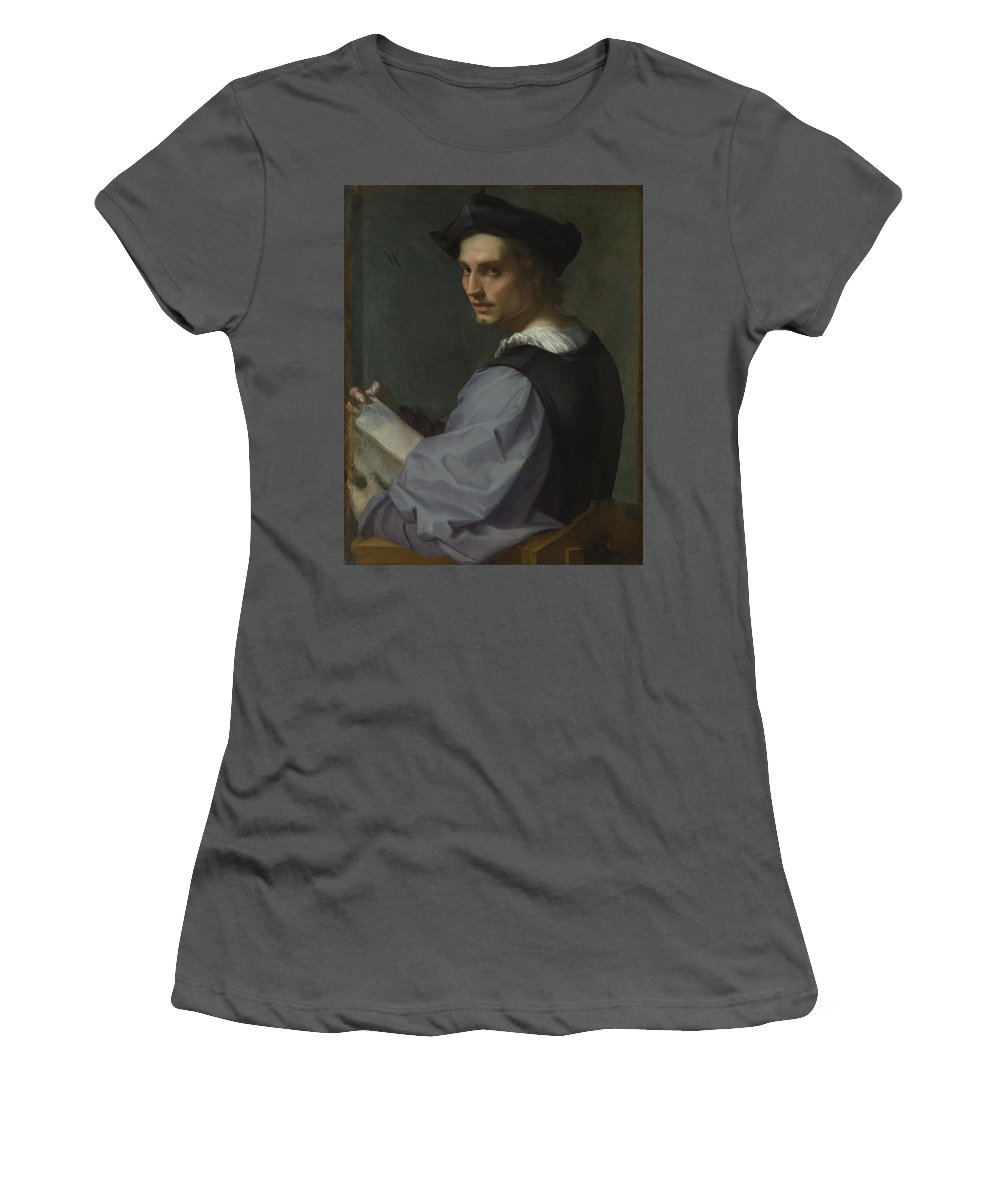 Andrea Women's T-Shirt (Athletic Fit) featuring the digital art Portrait Of A Young Man by PixBreak Art