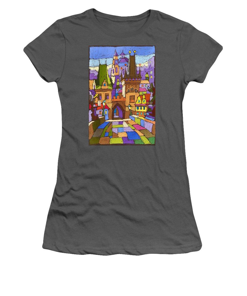 Pastel Women's T-Shirt (Athletic Fit) featuring the painting Prague Charles Bridge 01 by Yuriy Shevchuk