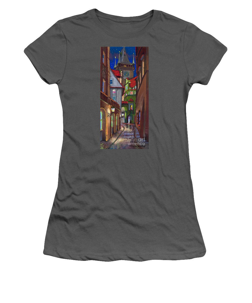 Pastel Women's T-Shirt (Athletic Fit) featuring the painting Prague Old Street by Yuriy Shevchuk