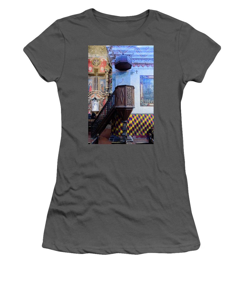 San Xavier Del Bac Mission Women's T-Shirt (Athletic Fit) featuring the photograph Pulpit - San Xavier Mission - Tucson Arizona by Jon Berghoff