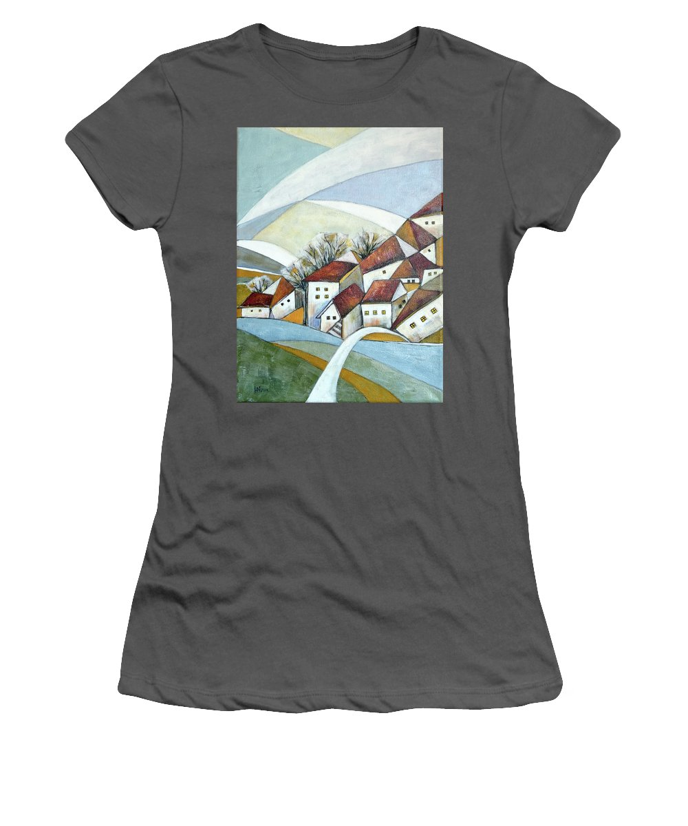 Abstract Women's T-Shirt (Athletic Fit) featuring the painting Quiet Village by Aniko Hencz