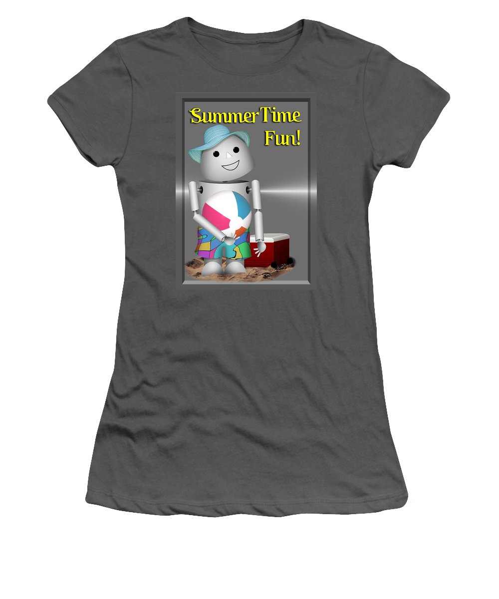 Women's T-Shirt (Athletic Fit) featuring the mixed media Robo-x9 At The Beach by Gravityx9 Designs
