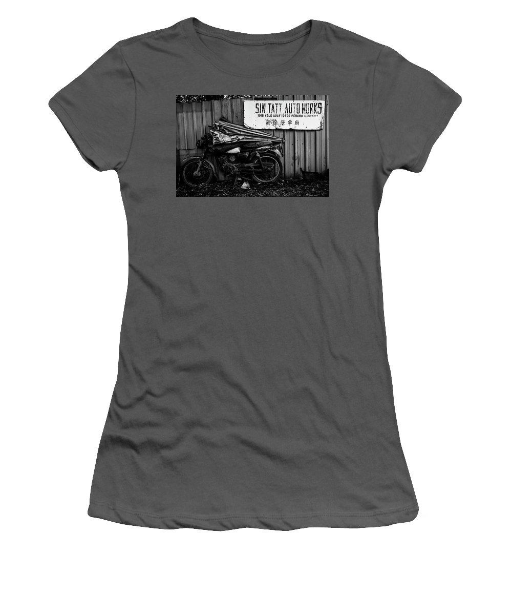 Penang Women's T-Shirt (Athletic Fit) featuring the photograph Sin Tatt Auto Works by Julian Regan