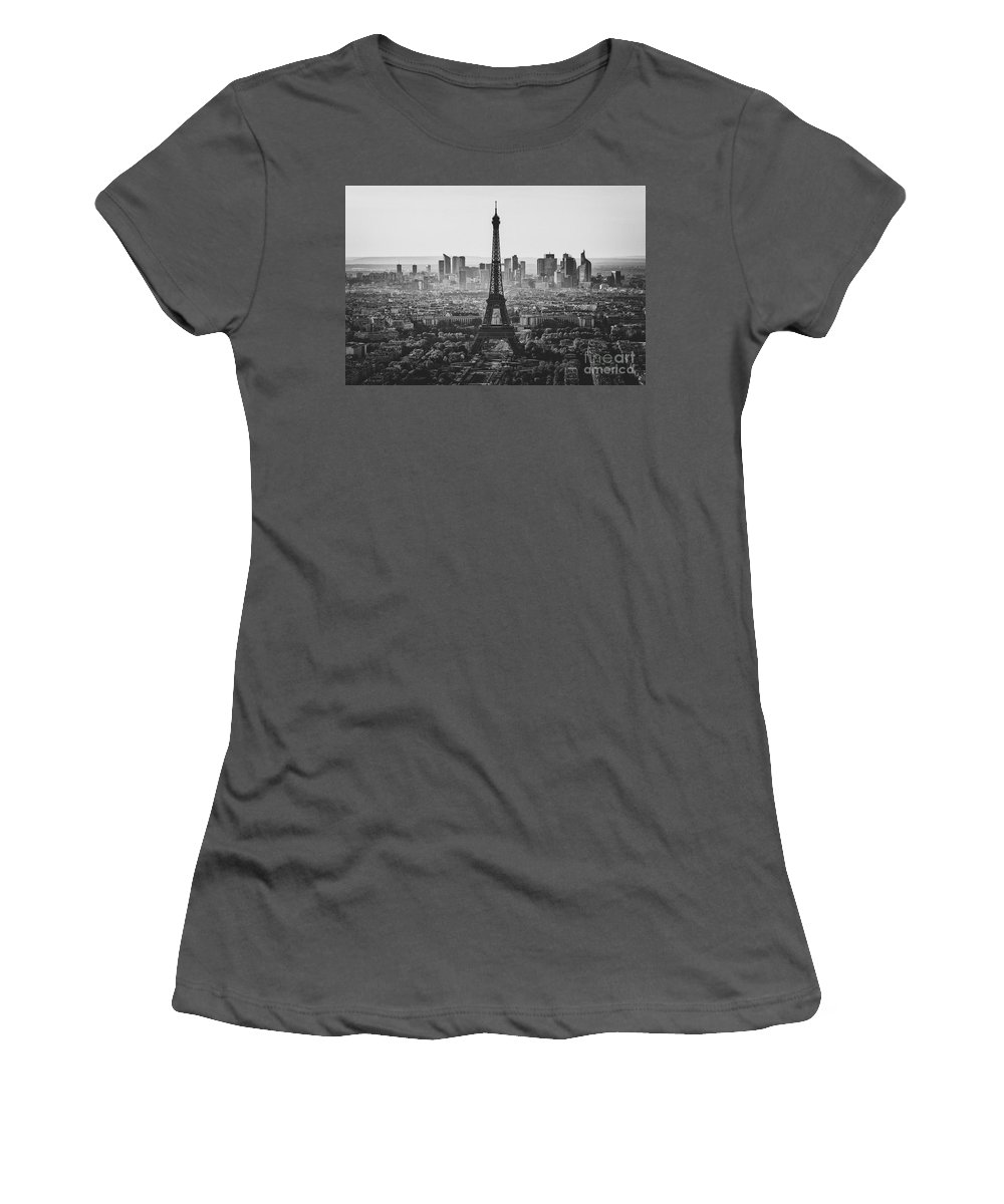 Paris Women's T-Shirt (Athletic Fit) featuring the photograph Skyline Of Paris In Black And White by Marcus Lindstrom