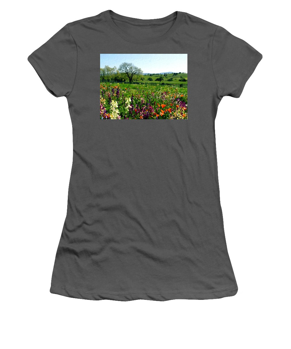 Vineyards Women's T-Shirt (Athletic Fit) featuring the photograph Spring Bouquet At Rusack Vineyards by Kurt Van Wagner