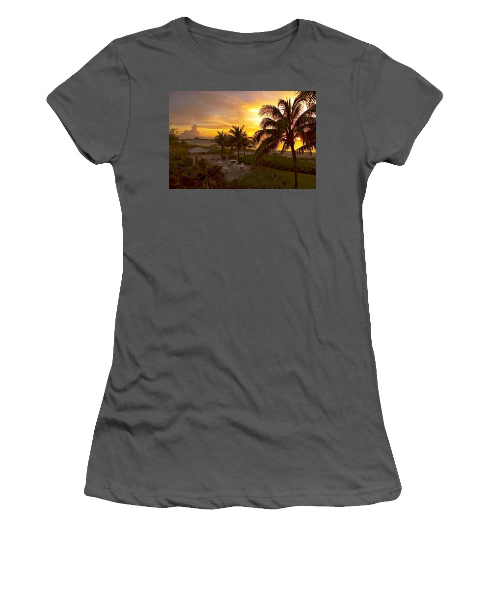 Sunset Women's T-Shirt (Athletic Fit) featuring the photograph Sunset On Grace Bay by Stephen Anderson