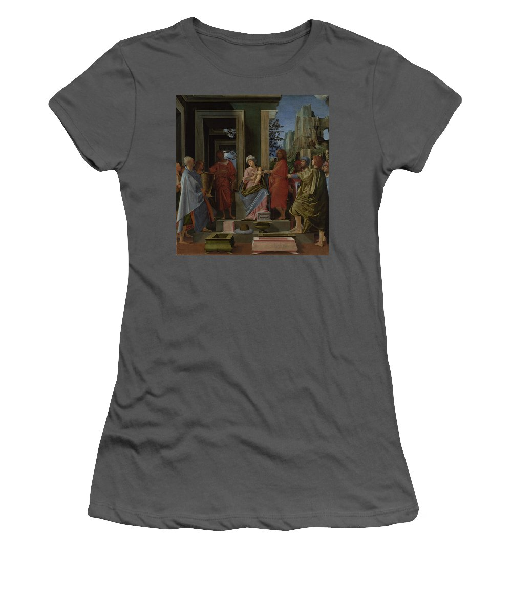 Bramantino Women's T-Shirt (Athletic Fit) featuring the digital art The Adoration Of The Kings by PixBreak Art