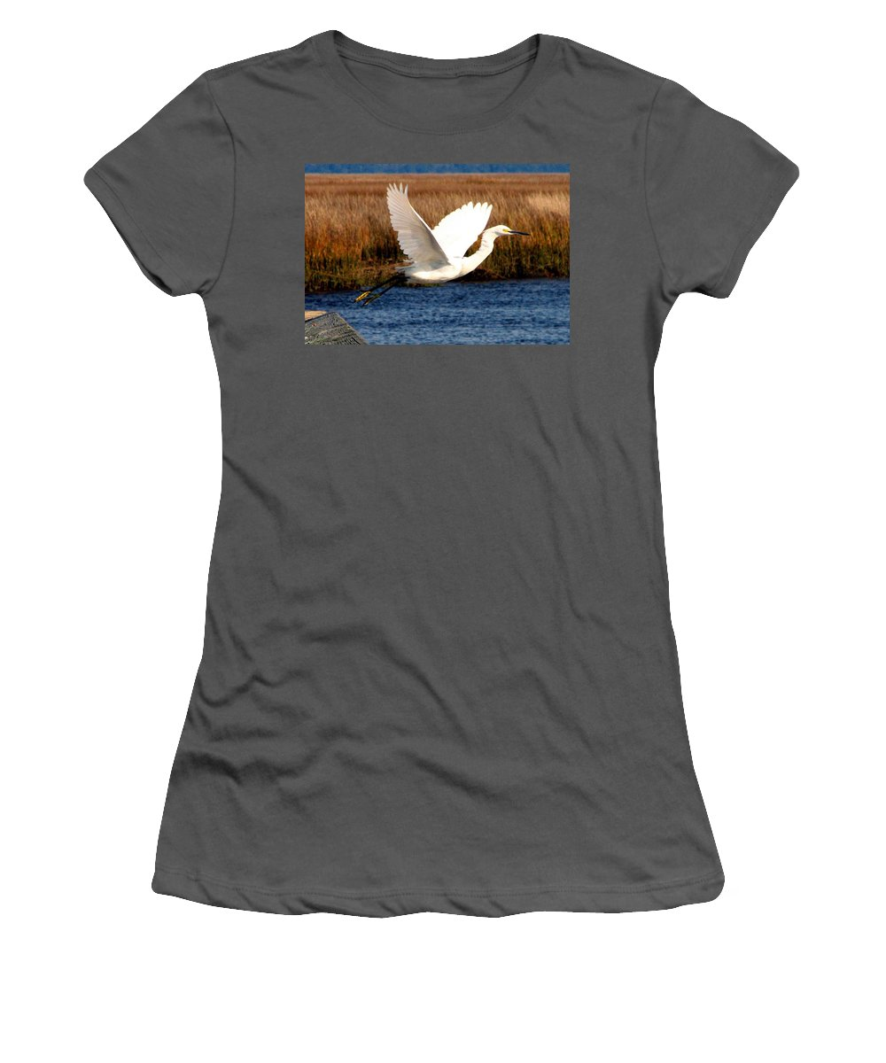 Egret Women's T-Shirt (Athletic Fit) featuring the photograph The Takeoff by J M Farris Photography