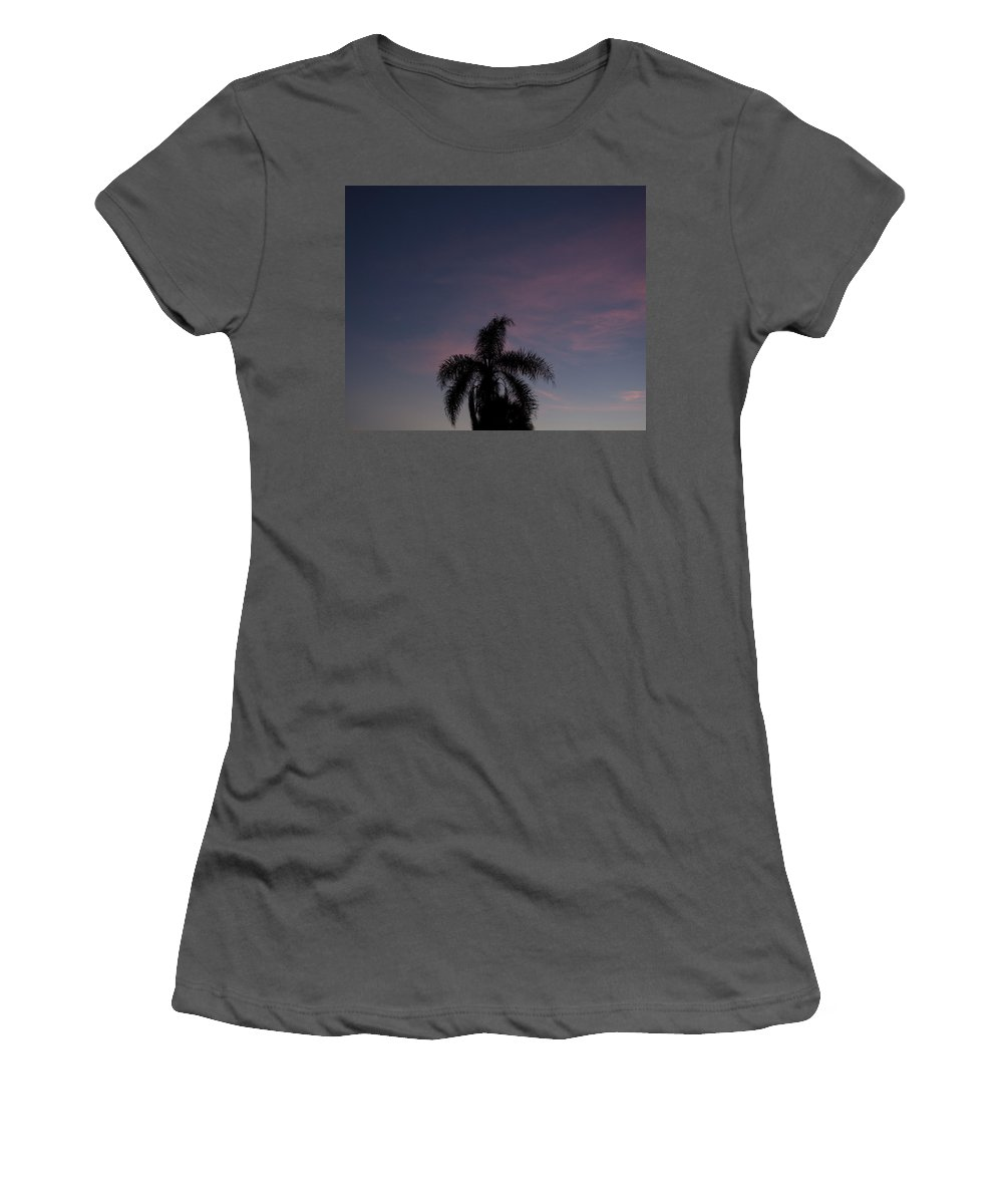 Tropic; Sky; Sunset; Sunrise; Skies; Pink; Orange; Blue; Purple; Night; Nightime; Evening; Morning; Palm; Palms; Tree; Trees; Cloud; Clouds; Tropical; Florida; Melbourne; Beach; Brevard; Sun; Setting; Set; Rise; Rising; Shine; Shining; Fronds Women's T-Shirt (Athletic Fit) featuring the photograph Tropic Twilight by Allan Hughes