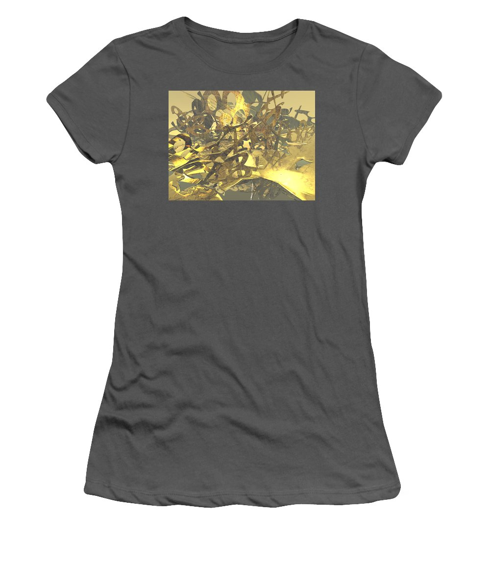 Scott Piers Women's T-Shirt (Athletic Fit) featuring the painting Urban Gold by Scott Piers