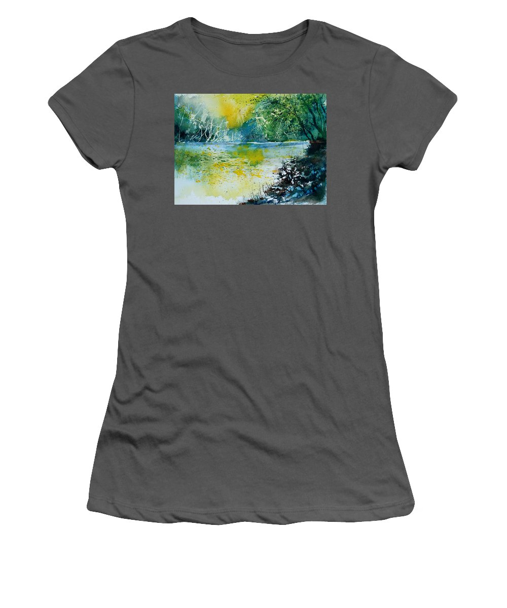 Water Women's T-Shirt (Athletic Fit) featuring the painting Watercolor 051108 by Pol Ledent