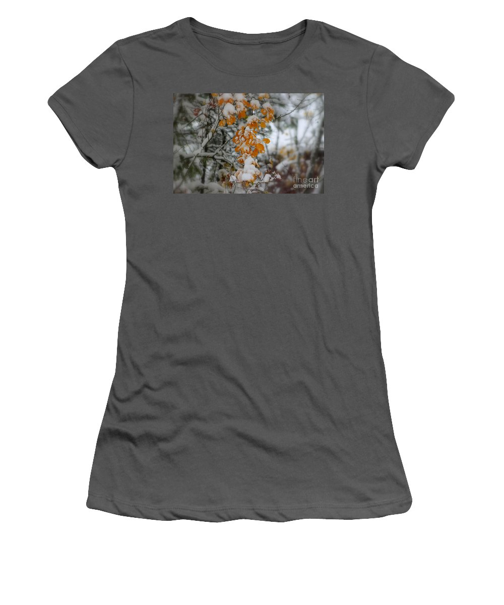 Winter Women's T-Shirt (Athletic Fit) featuring the photograph Yellow Leaves by Leone Lund