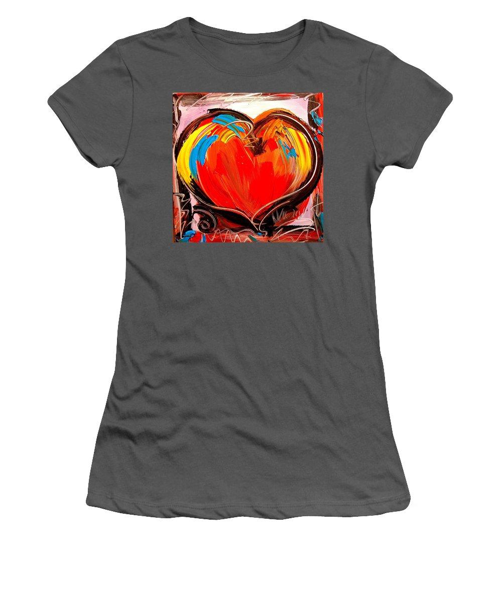 Kazav Framed Prints Women's T-Shirt (Athletic Fit) featuring the painting Heart by Mark Kazav