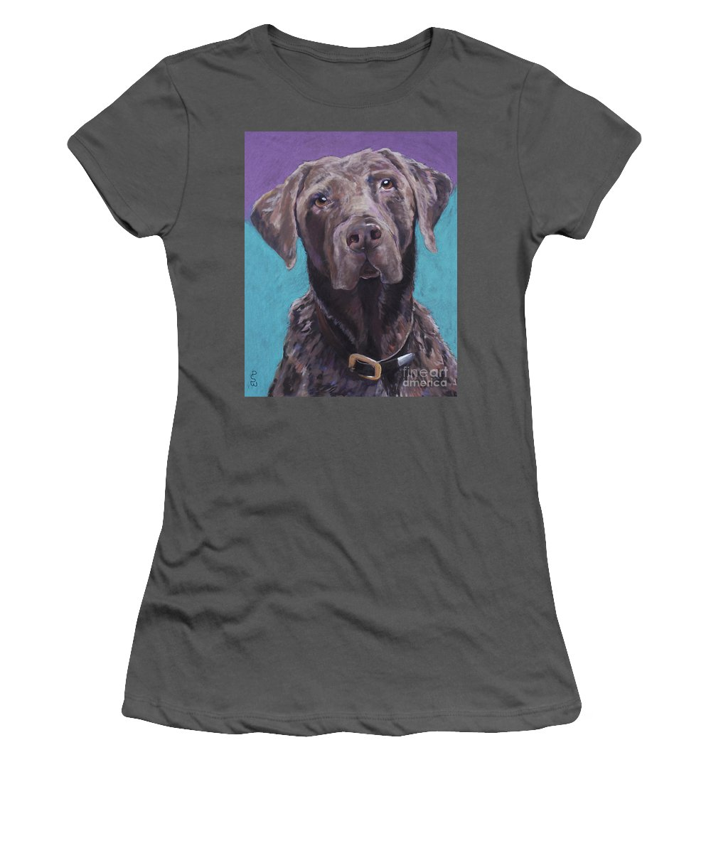 Pet Portrait Commissions Women's T-Shirt (Athletic Fit) featuring the pastel 100 Lbs. Of Chocolate Love by Pat Saunders-White