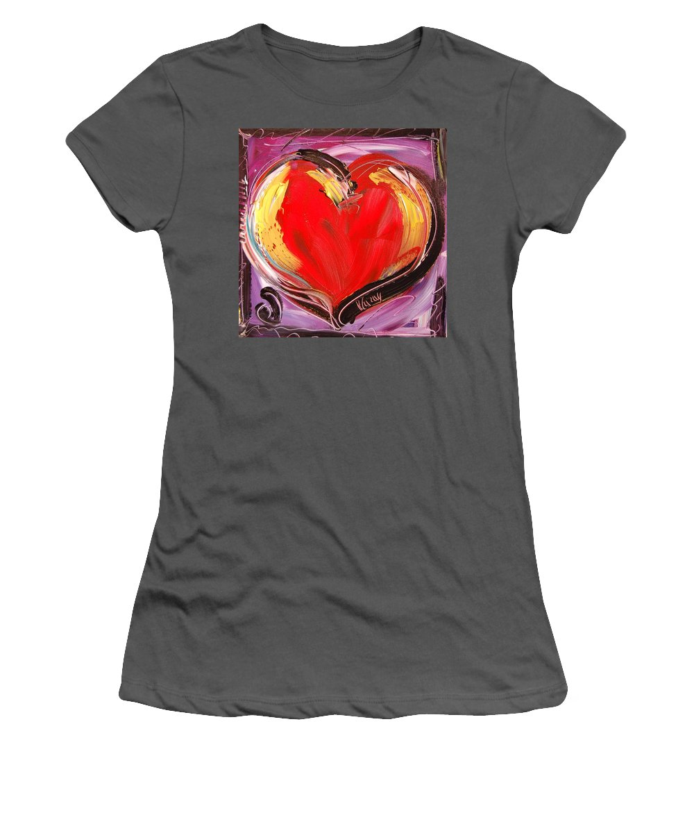 Coffeee Women's T-Shirt (Athletic Fit) featuring the painting Hearts by Mark Kazav